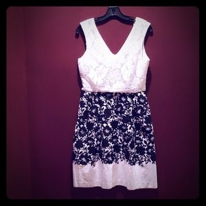 Great Black and White Summer Dress.  Fit and Flare